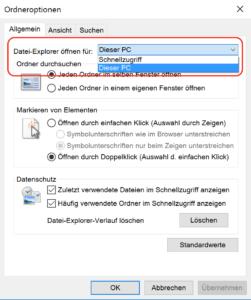 Standarddarstellung für Windows Explorer in Ordneroptionen