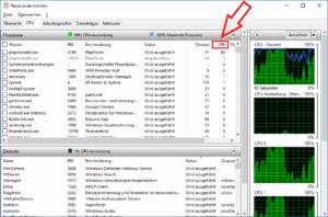 Anzeige der Prozesse im Ressourcenmonitor nach CPU-Last
