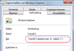 Ansicht Computer in Windows 7