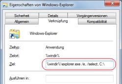 Ansicht Computer in Windows 7