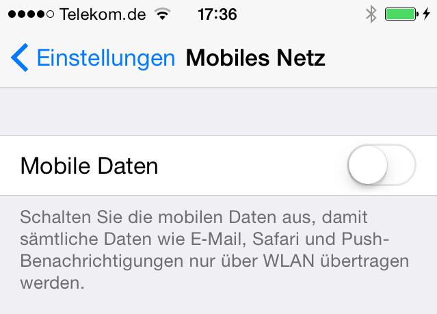 Mobile Daten abschalten