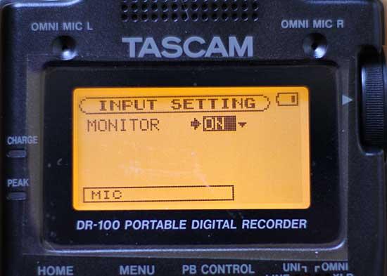 Bedienungsbildschirm des Tascam DR-100 - (Foto: Martin Goldmann)