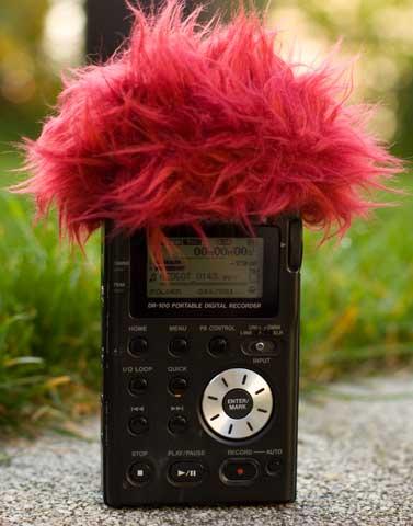 Windschutz auf einem Tascam DR100 Field Recorder. - (Foto: Martin Goldmann)