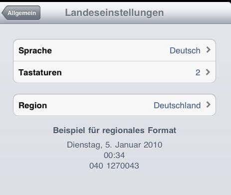 iPad-Landeseinstellungen