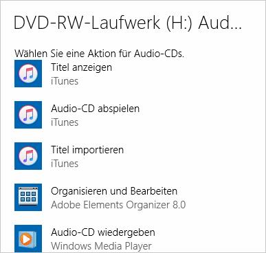 Autostart-Aktionen für eine Audio-CD