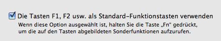 Funktionstasten aktivieren in Mac OS X