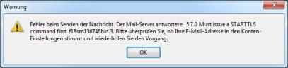 Google Mail Fehler STARTTLS