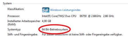 Win7 Bitbreite feststellen