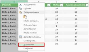 Excel - Zellen verstecken