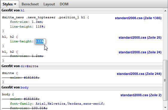 CSS-Editing