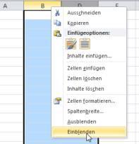 Excel 2010 Spalten einblenden