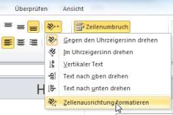 Excel 2010 Zellenausrichtung formatieren