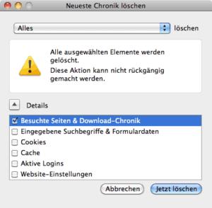 Dialogfenster in Firefox zum Löschen des Verlaufs