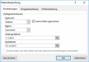 Excel Datumsbereich festlegen
