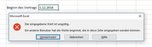 Excel Fehlermeldung bei der Datumseingabe