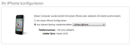 itunes neues iphone per restore konfigurieren