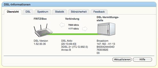 DSL-Geschwindigkeitstest der Fritzbox