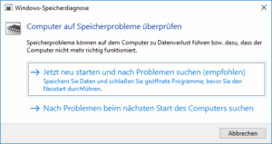 Speichertest mit Windows