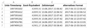 Unix Timestamp nach Excel konvertieren