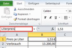 Excel Zellnamen vergeben