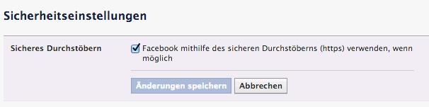 Option zum Einschalten der https-Verschluesselung in Facebook