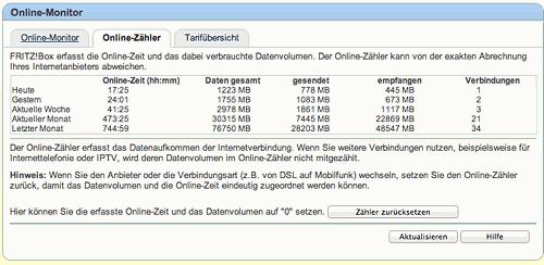 Online Monitor der Fritzbox