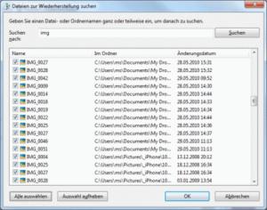 Windows 7 Wiederherstellen leere Dateimaske