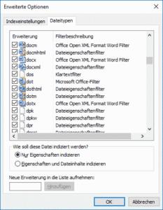 Dateitypen für den Index