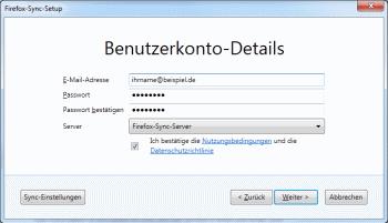 Firefox 4 Benutzerkonto fuer Sync anlegen