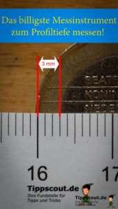 Ideales Messinstrument: Der Rand einer 1-Euro-Münze ist drei Millimeter breit.