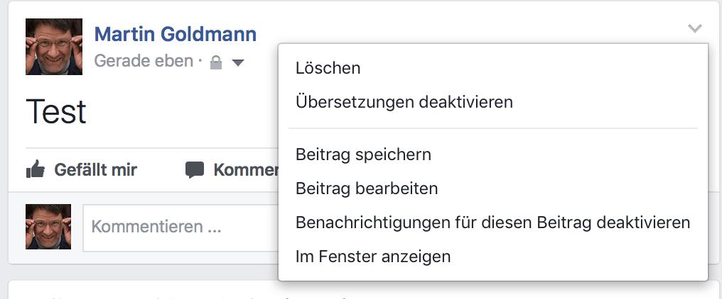 Facebook-Beitrag löschen