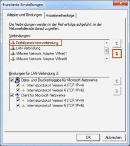 Win7 Netzwerkadapter priorisieren