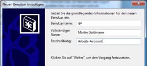 Neuen Benutzer eintragen in Windows 7