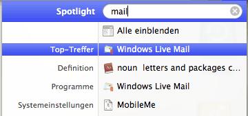 Spotlight Suche zeigt Windows Mail als Ergebis