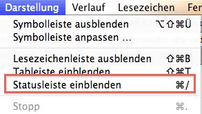 Statusleiste des Safari-Browsers einblenden