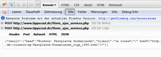 Firebug zeigt Ajax-Parameter