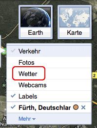 Eintrag Wetter in Google Maps Layerliste