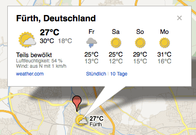 Wettervorhersage in Google Maps