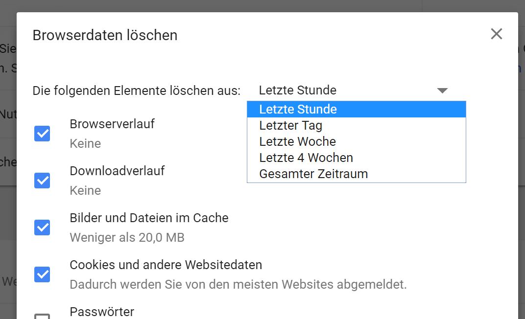 Suchverlauf löschen in Google Chrome