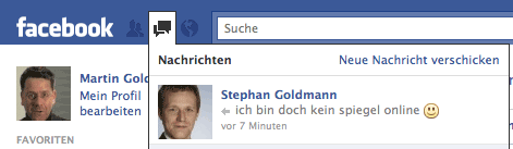 Nachrichten-Symbol bei Facebook