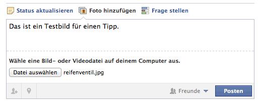 Facebook Datei aussuchen