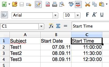 Die Kalenderdaten in der Tabellenkalkulation