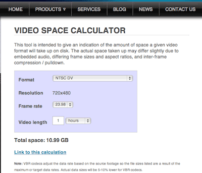Screenshot des Video Space Calculator