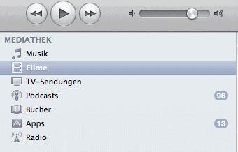 Randleiste von iTunes