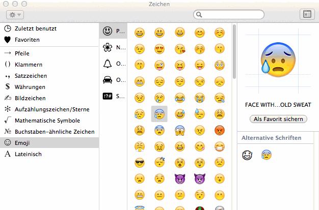 Emoji in der Zeichen?bersicht