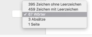 Zeichenzahl und Wortanzahl in Apple Pages