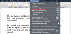 Menü Darstellung - Wortanzahl in Apple Pages