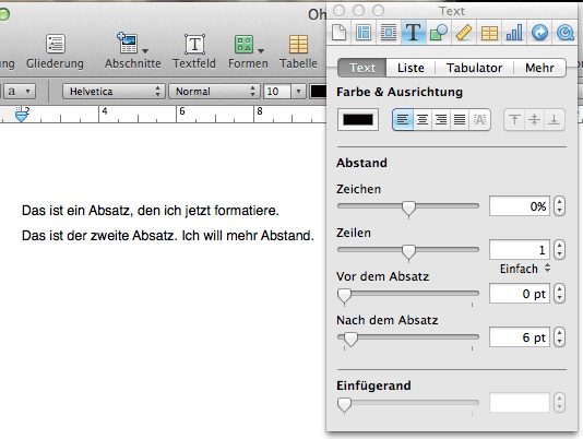 Absatzformatierung in Apple Pages