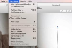 Bild zuschneiden auf dem Mac