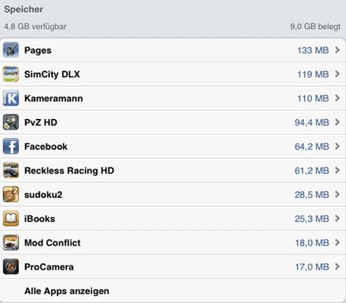Liste der auf dem iPad installierten Apps